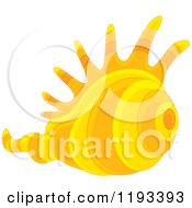 Cartoon Of A Yellow And Orange Conch Sea Shell Royalty Free Vector Clipart