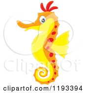 Cartoon Of A Red Orange And Yellow Seahorse Royalty Free Vector Clipart by Alex Bannykh
