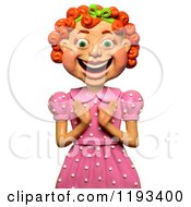 Poster, Art Print Of 3d Happy Red Haired Girl Clapping