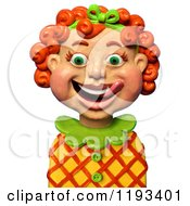 Clipart Of A 3d Happy Red Haired Girl Licking Her Lips Royalty Free CGI Illustration