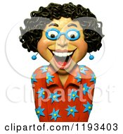 Clipart Of A 3d Happy Woman With Curly Black Hair Royalty Free CGI Illustration