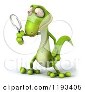Clipart Of A 3d Gecko Using A Magnifying Glass 2 Royalty Free CGI Illustration
