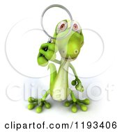 Clipart Of A 3d Gecko Using A Magnifying Glass Royalty Free CGI Illustration by Julos