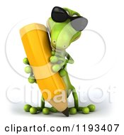 Clipart Of A 3d Gecko Wearing Sunglasses And Writing With A Pencil Royalty Free CGI Illustration