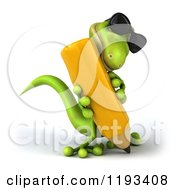 Clipart Of A 3d Gecko Wearing Sunglasses And Writing With A Pencil 2 Royalty Free CGI Illustration