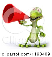 Clipart Of A 3d Gecko Using A Megaphone Royalty Free CGI Illustration