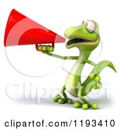 Clipart Of A 3d Gecko Using A Megaphone 2 Royalty Free CGI Illustration