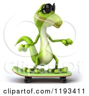 Clipart Of A 3d Gecko Wearing Sunglasses And Skateboarding Royalty Free CGI Illustration