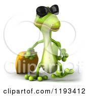 Clipart Of A 3d Traveling Gecko Wearing Sunglasses And Walking With Rolling Luggage Royalty Free CGI Illustration