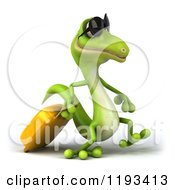 Clipart Of A 3d Traveling Gecko Wearing Sunglasses And Walking With Rolling Luggage 2 Royalty Free CGI Illustration