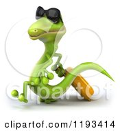 Clipart Of A 3d Traveling Gecko Wearing Sunglasses And Walking With Rolling Luggage 3 Royalty Free CGI Illustration