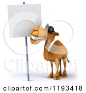 Clipart Of A 3d Camel Wearing Sunglasses And Smiling Up At A Sign Royalty Free CGI Illustration