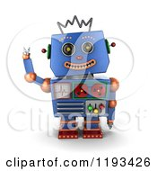 Clipart Of A 3d Happy Blue Robot Waving Royalty Free CGI Illustration
