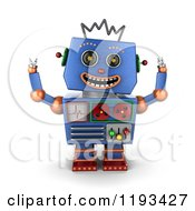 3d Happy Blue Robot With Both Arms Up