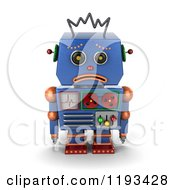 Clipart Of A 3d Sad Blue Robot Pouting Royalty Free CGI Illustration