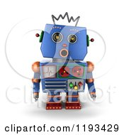 Clipart Of A 3d Surprised Blue Robot With An Open Mouth Royalty Free CGI Illustration