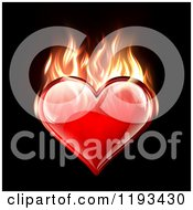 Clipart Of A Reflective Red Heart Burning With Flames On Black Royalty Free Vector Illustration