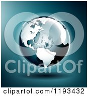 Clipart Of A Globe Featuring The Americas Ant Atlantic Over Blue Royalty Free Vector Illustration