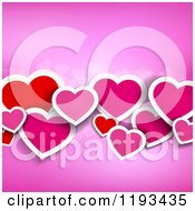 Clipart Of A Background Of Red And Pink Paper Hearts On Pink Royalty Free Vector Illustration