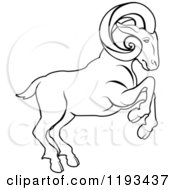 Clipart Of A Black And White Line Drawing Of The Aries Ram Zodiac Astrology Sign Royalty Free Vector Illustration