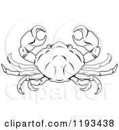 Clipart Of A Black And White Line Drawing Of The Cancer Crab Zodiac Astrology Sign Royalty Free Vector Illustration