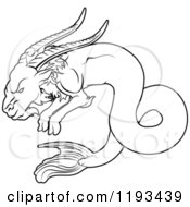 Clipart Of A Black And White Line Drawing Of The Capricorn Zodiac Astrology Sign Royalty Free Vector Illustration