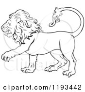 Clipart Of A Black And White Line Draing Of The Leo Lion Zodiac Astrology Sign Royalty Free Vector Illustration