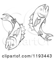 Clipart Of A Black And White Line Drawing Of The Pisces Fish Zodiac Astrology Sign Royalty Free Vector Illustration