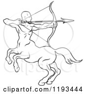 Clipart Of A Black And White Line Drawing Of The Sagittarius Centaur Archer Zodiac Astrology Sign Royalty Free Vector Illustration by AtStockIllustration