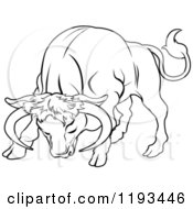 Clipart Of A Black And White Line Drawing Of The Taurus Bull Zodiac Astrology Sign Royalty Free Vector Illustration