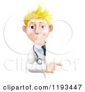Cartoon Of A Friendly Blond Male Doctor Pointing To A Sign Royalty Free Vector Clipart by AtStockIllustration