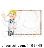 Cartoon Of A Friendly Blond Male Doctor Waving And Leaning Against A White Board Royalty Free Vector Clipart