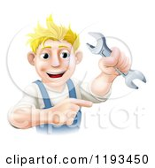 Poster, Art Print Of Happy Blond Worker Man Holding A Wrench And Pointing