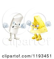 Cartoon Of Debating Angry Chalk And Cheese Mascots Royalty Free Vector Clipart by AtStockIllustration