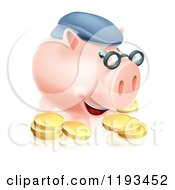 Pension Piggy Bank With Glasses A Hat And Gold Coins