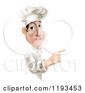 Cartoon Of A Happy Chef Pointing Around A Menu Or Sign Board Royalty Free Vector Clipart