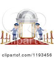 Cartoon Of Friendly Door Men Holding Open VIP Doors On A Red Carpet Royalty Free Vector Clipart by AtStockIllustration
