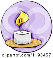 Cartoon Of A Purple Circle And Candle Wellness Icon Royalty Free Vector Clipart