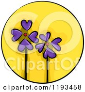 Cartoon Of A Yellow Circle And Purple Flower Wellness Icon Royalty Free Vector Clipart
