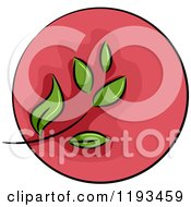 Cartoon Of A Red Circle And Green Leaf Wellness Icon Royalty Free Vector Clipart