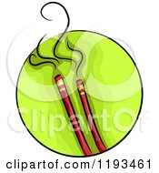 Cartoon Of A Green Circle And Incense Wellness Icon Royalty Free Vector Clipart