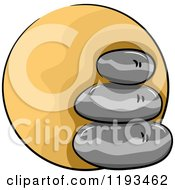 Cartoon Of An Orange Circle And Spa Stones Wellness Icon Royalty Free Vector Clipart