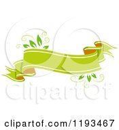 Cartoon Of A Blank Green Leafy Eco Ribbon Banner Royalty Free Vector Clipart
