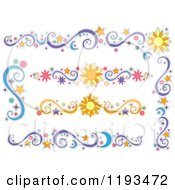Cartoon Of Sun Moon And Star Design Elements Royalty Free Vector Clipart