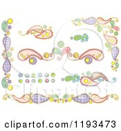 Cartoon Of Whimsy Paisley And Circle Borders Royalty Free Vector Clipart