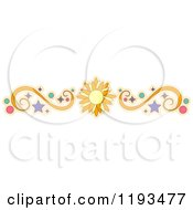 Cartoon Of A Sun Swirl Circle And Star Border Design Element Royalty Free Vector Clipart by BNP Design Studio