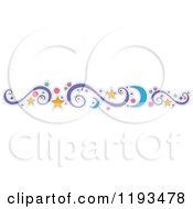 Cartoon Of A Crescent Moon Star Circle And Swirl Design Element Royalty Free Vector Clipart by BNP Design Studio
