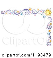 Cartoon Of A Star Sun Moon Circle And Swirl Corner Border Royalty Free Vector Clipart by BNP Design Studio
