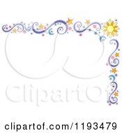 Cartoon Of A Star Sun Moon Circle And Swirl Corner Border Royalty Free Vector Clipart by BNP Design Studio