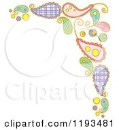 Cartoon Of A Whimsy Paisly Corner Border Royalty Free Vector Clipart
